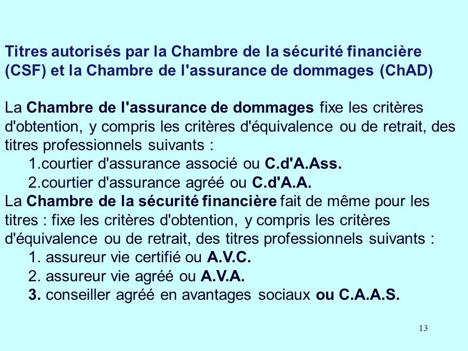 Pr sentation de la loi 188 loi sur la distribution de for Chambre de l assurance de dommages