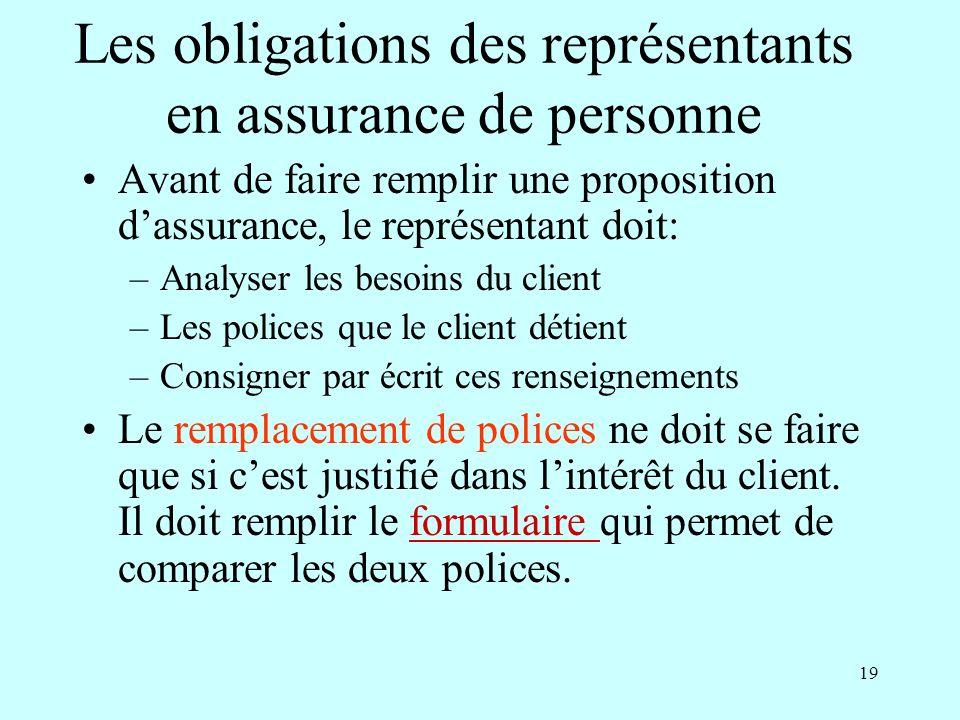 Les obligations des représentants en assurance de personne