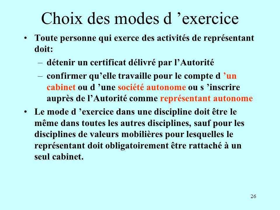 Choix des modes d 'exercice