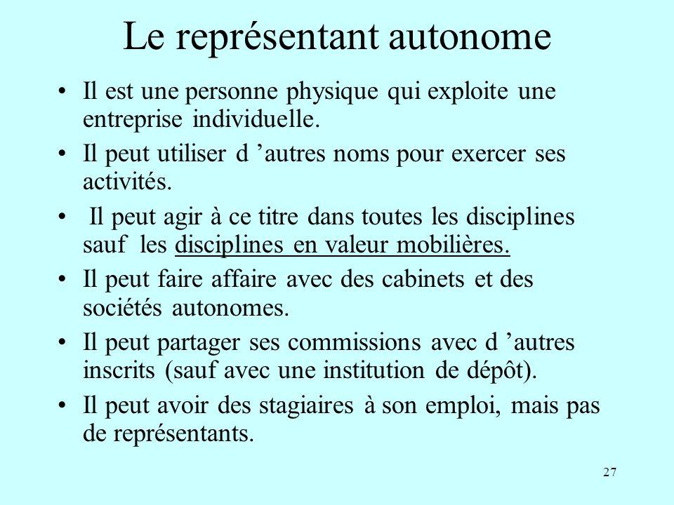 Le représentant autonome