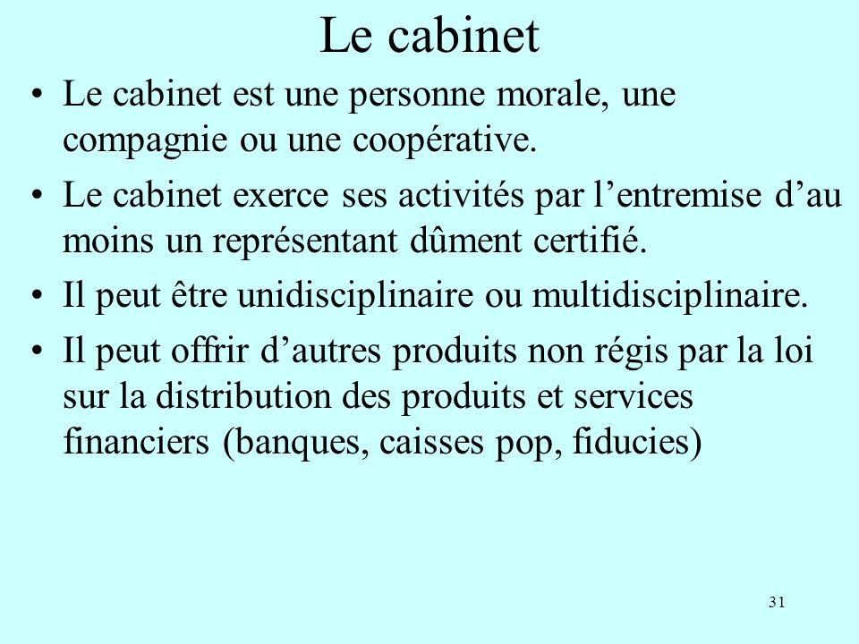 Le cabinet Le cabinet est une personne morale, une compagnie ou une coopérative.