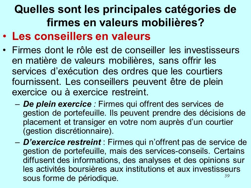 Quelles sont les principales catégories de firmes en valeurs mobilières