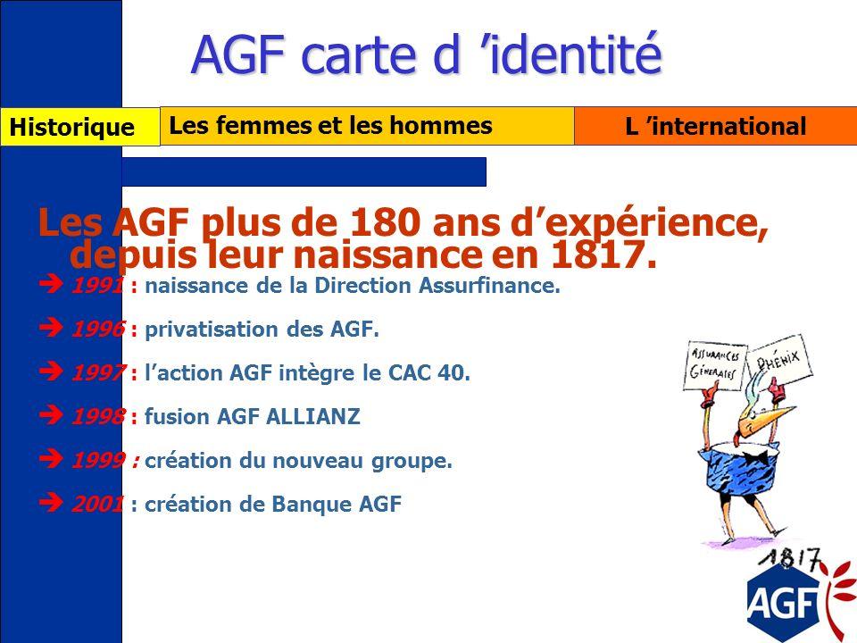 AGF carte d 'identité Historique. Les femmes et les hommes. L 'international. Les AGF plus de 180 ans d'expérience, depuis leur naissance en 1817.