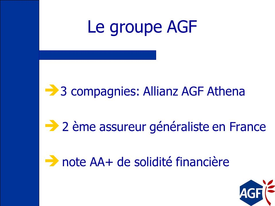 Le groupe AGF 3 compagnies: Allianz AGF Athena