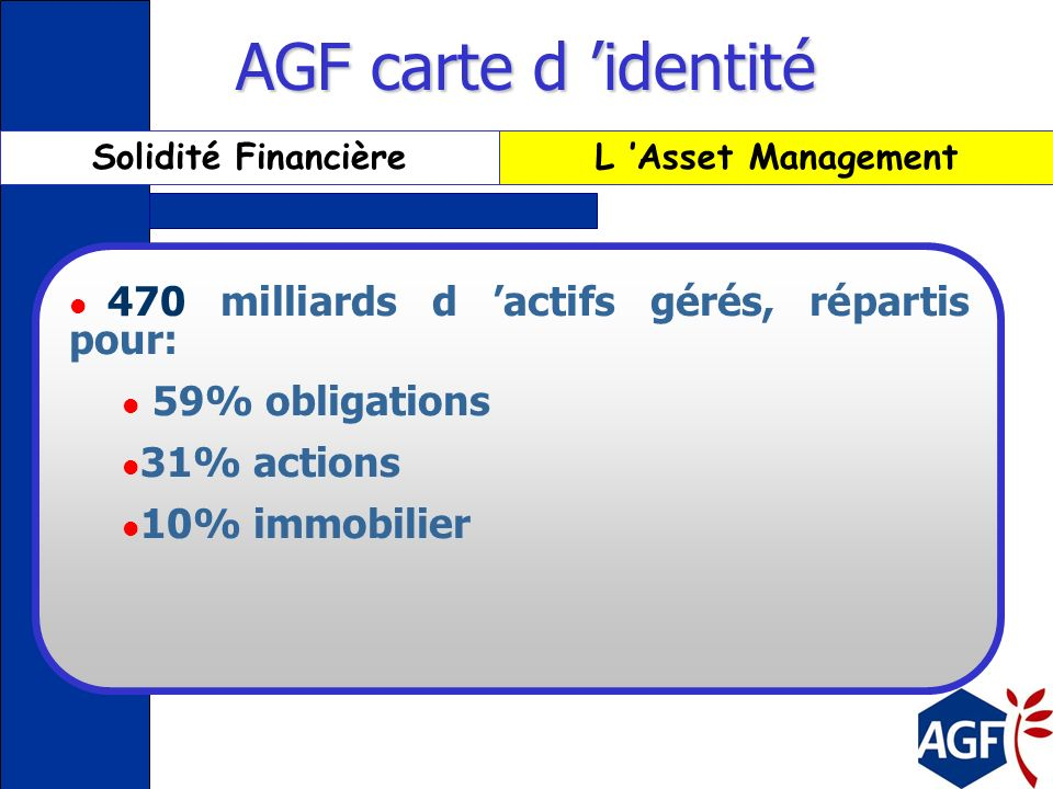 AGF carte d 'identité 470 milliards d 'actifs gérés, répartis pour: