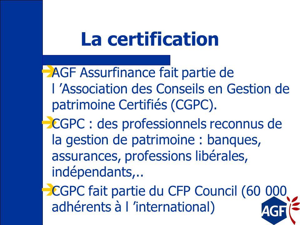 La certification AGF Assurfinance fait partie de l 'Association des Conseils en Gestion de patrimoine Certifiés (CGPC).