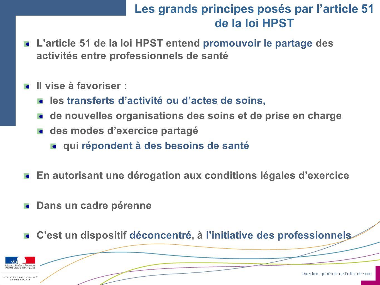 Les grands principes posés par l'article 51 de la loi HPST