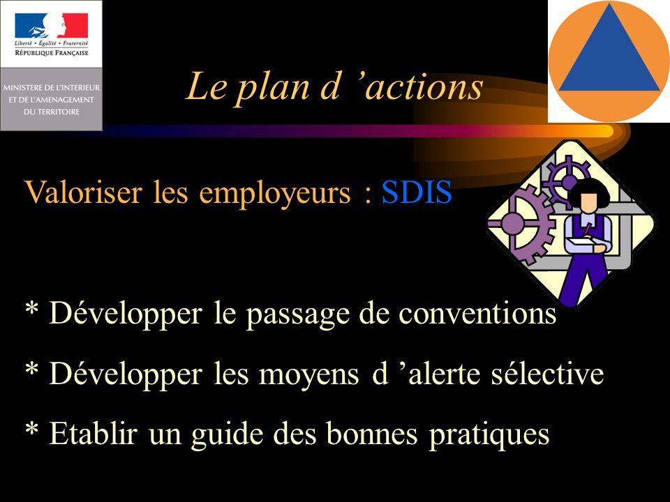 Le plan d 'actions Valoriser les employeurs : SDIS