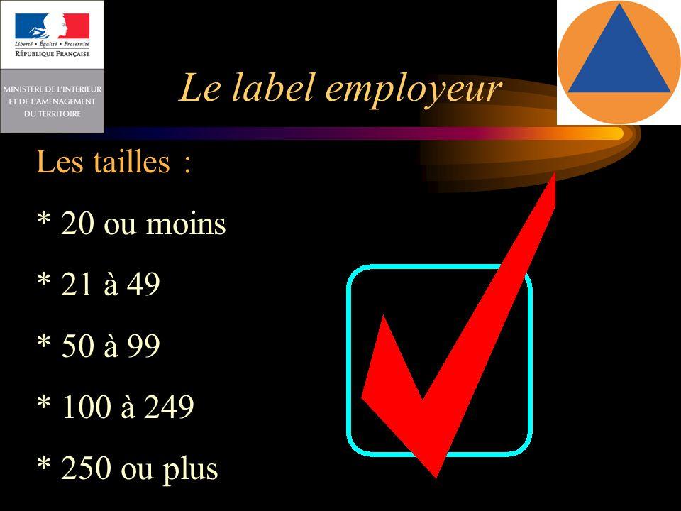 Le label employeur Les tailles : * 20 ou moins * 21 à 49 * 50 à 99