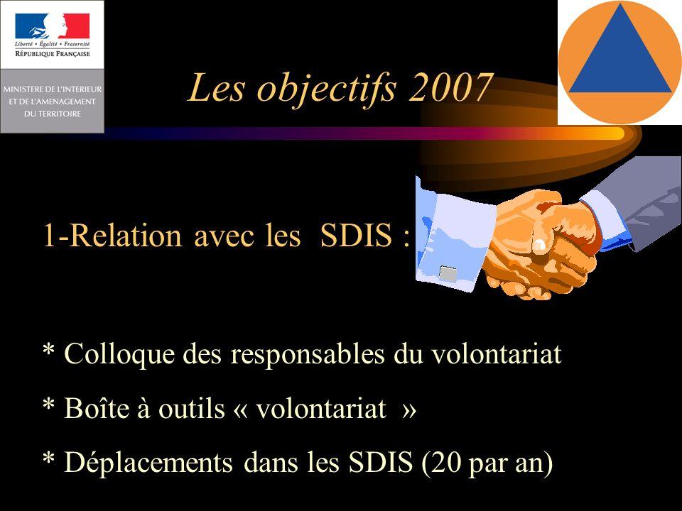 Les objectifs 2007 1-Relation avec les SDIS :