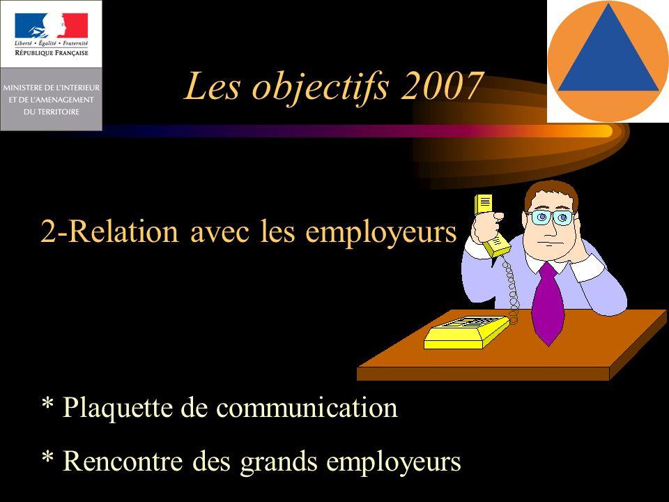 Les objectifs 2007 2-Relation avec les employeurs :