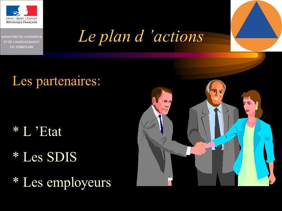 Le plan d 'actions Les partenaires: * L 'Etat * Les SDIS