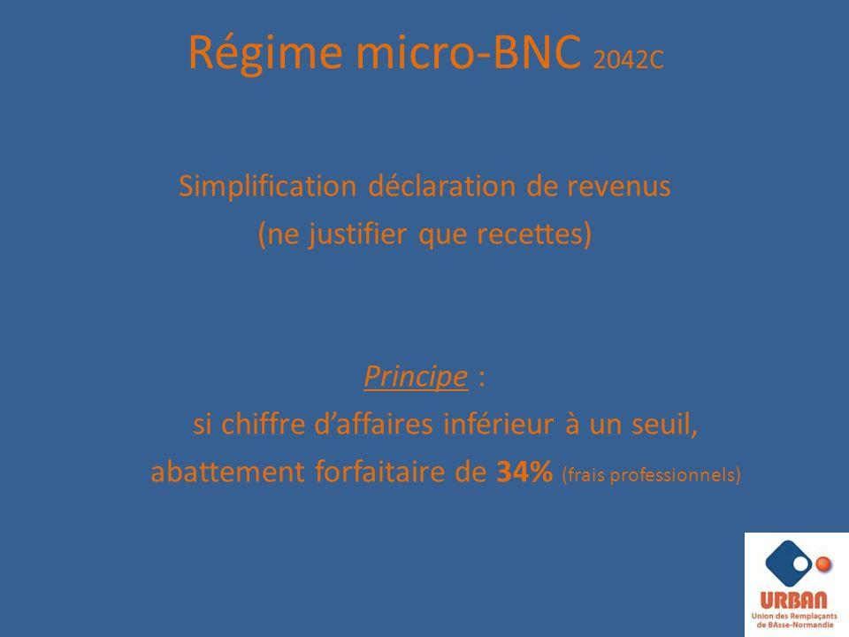 Régime micro-BNC 2042C Simplification déclaration de revenus