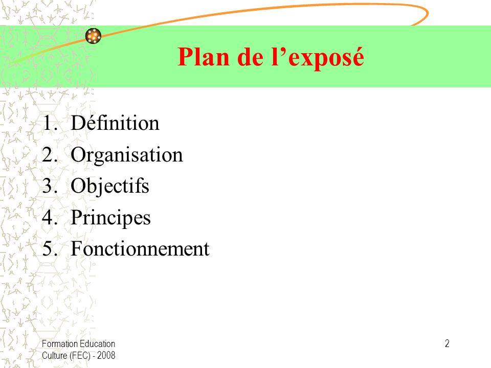 Plan de l'exposé Définition Organisation Objectifs Principes
