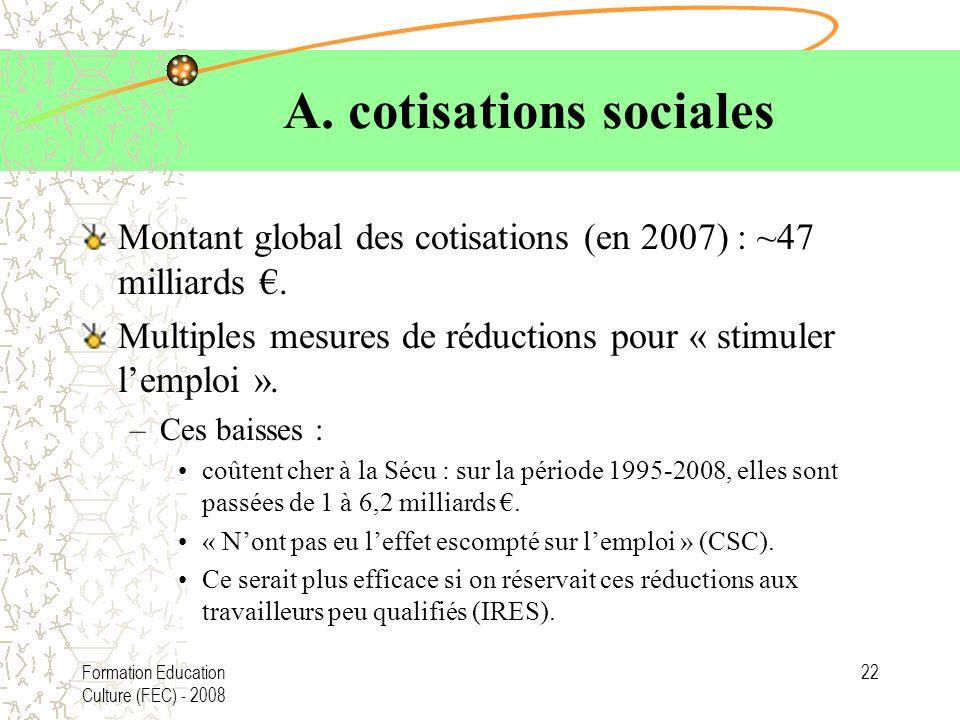 A. cotisations sociales