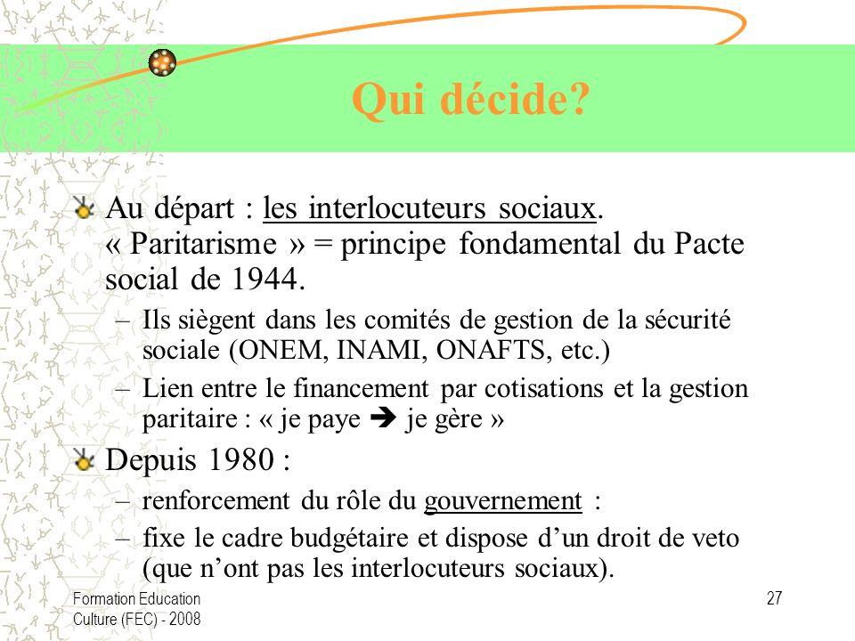 Qui décide Au départ : les interlocuteurs sociaux. « Paritarisme » = principe fondamental du Pacte social de 1944.