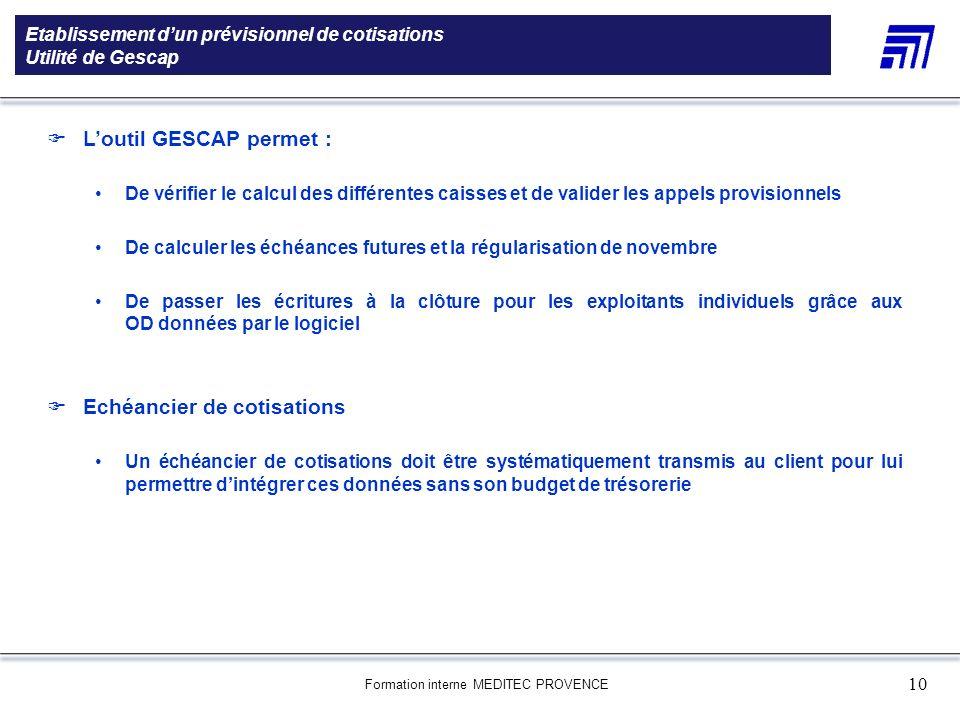 Etablissement d'un prévisionnel de cotisations Utilité de Gescap