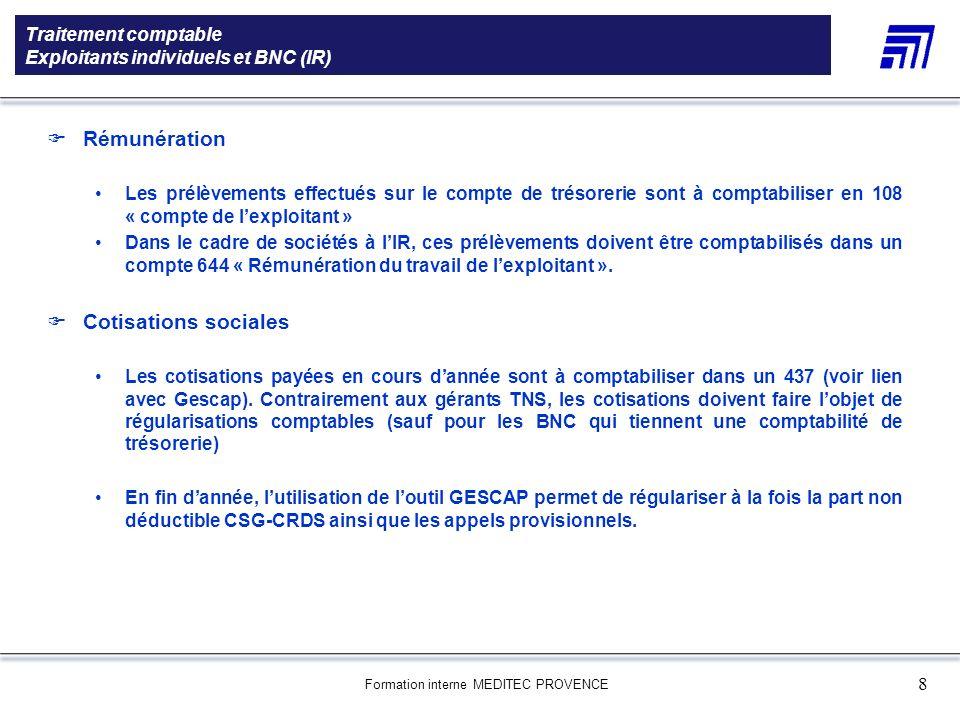 Traitement comptable Exploitants individuels et BNC (IR)
