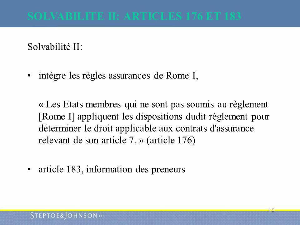 SOLVABILITE II: ARTICLES 176 ET 183