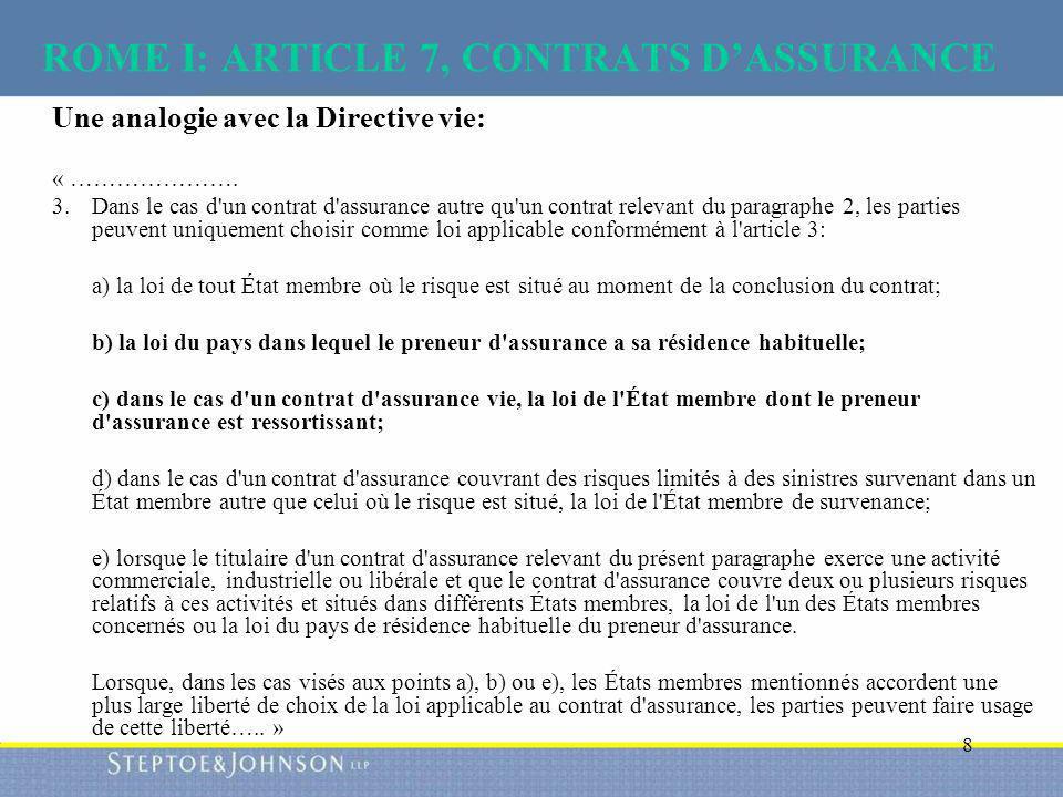 ROME I: ARTICLE 7, CONTRATS D'ASSURANCE