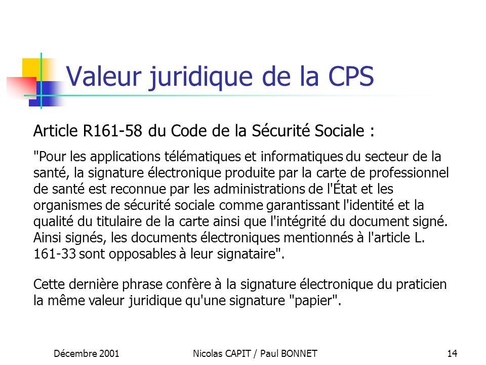 Valeur juridique de la CPS