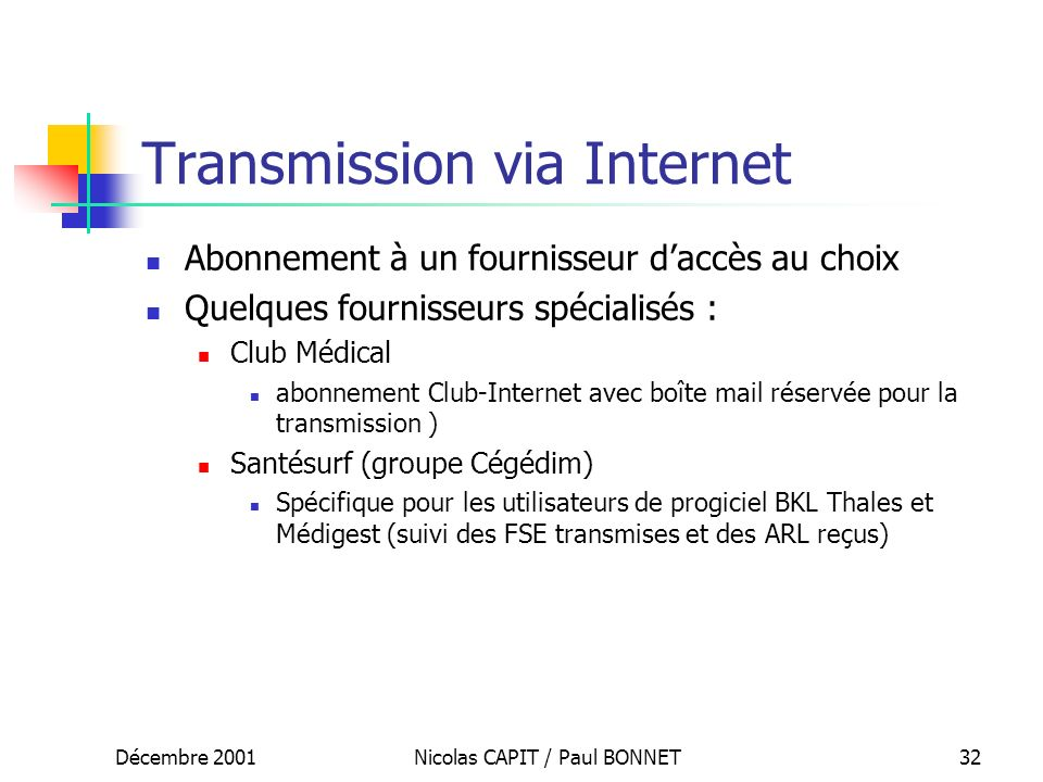 Transmission via Internet