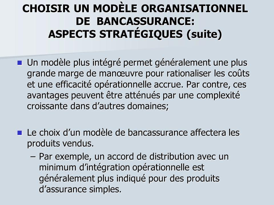 CHOISIR UN MODÈLE ORGANISATIONNEL DE BANCASSURANCE: ASPECTS STRATÉGIQUES (suite)