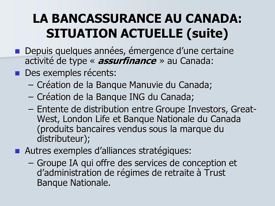 LA BANCASSURANCE AU CANADA: SITUATION ACTUELLE (suite)