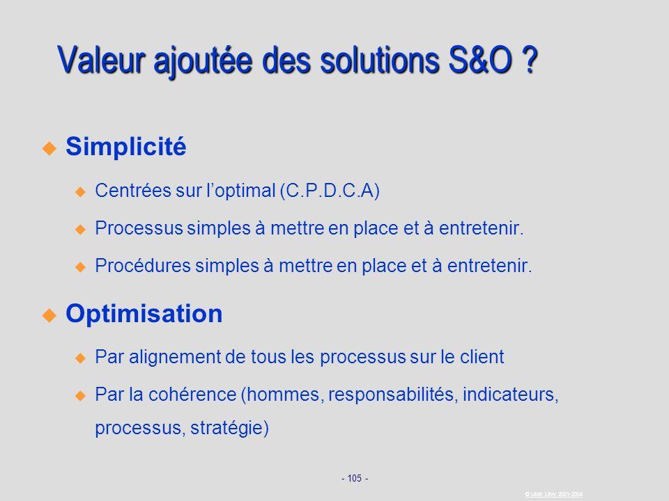 Valeur ajoutée des solutions S&O