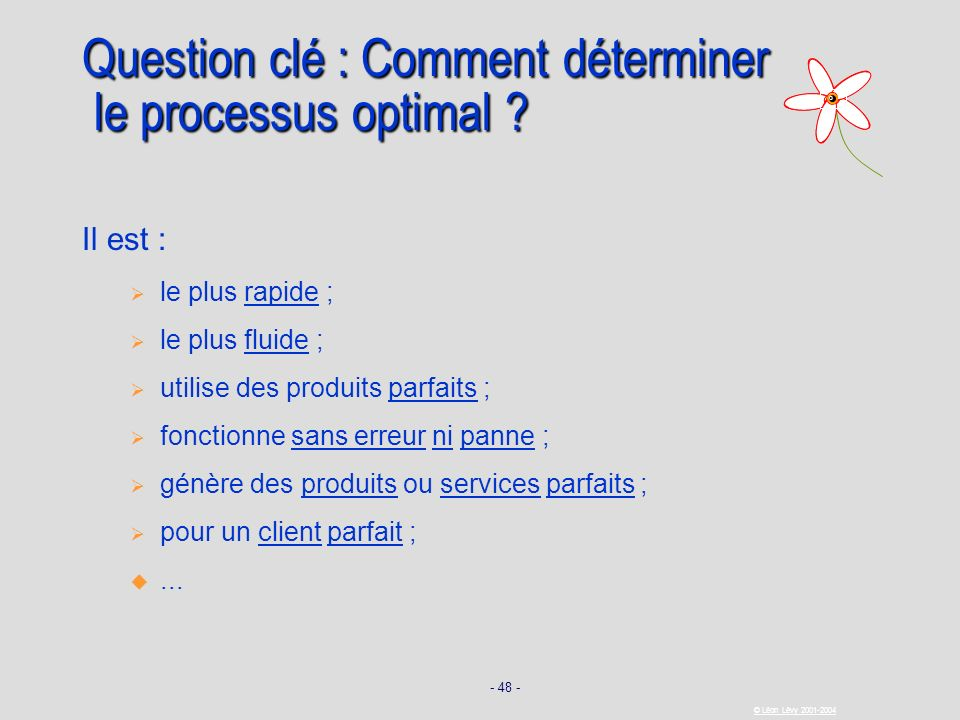 Question clé : Comment déterminer le processus optimal