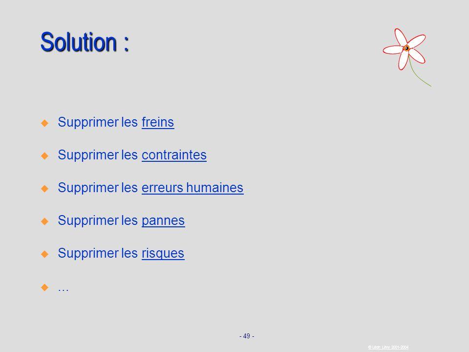 Solution : Supprimer les freins Supprimer les contraintes