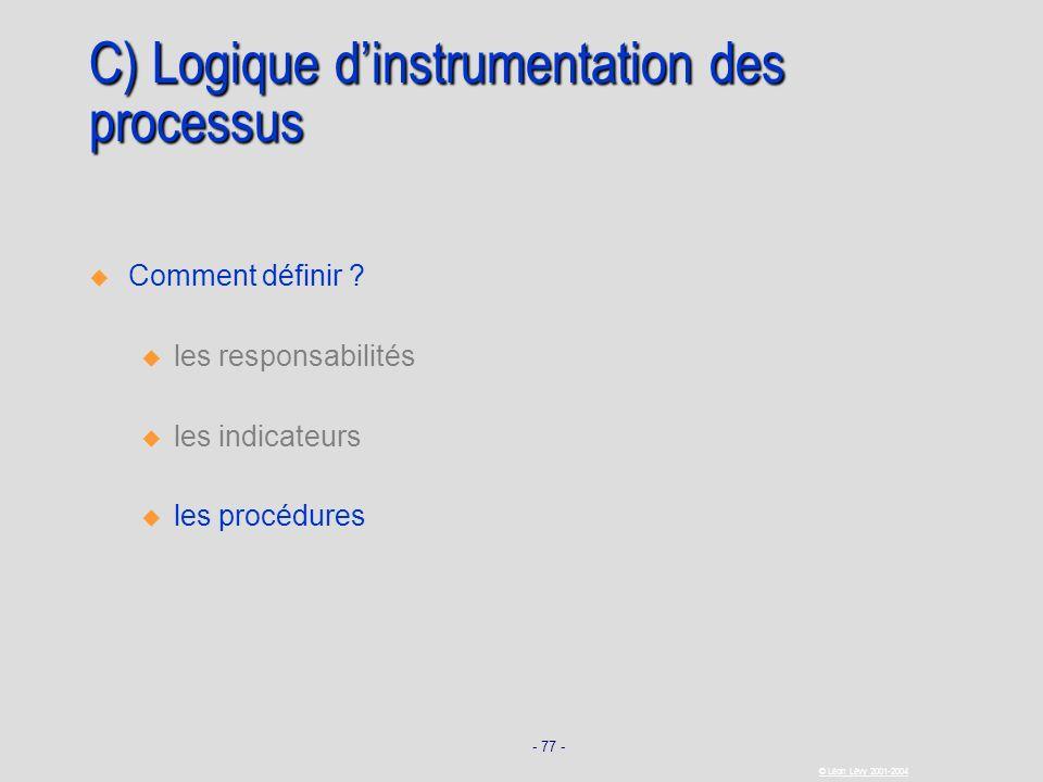 C) Logique d'instrumentation des processus