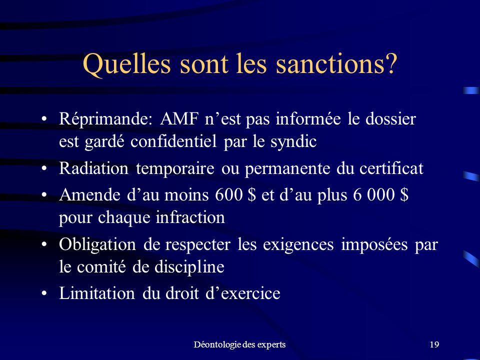 Quelles sont les sanctions