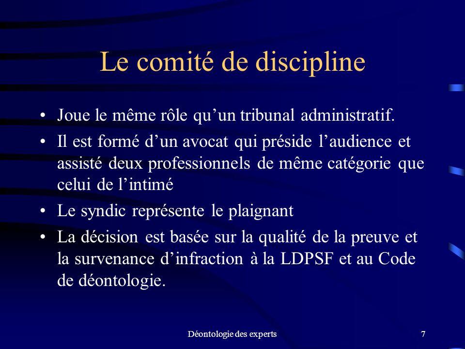 Le comité de discipline
