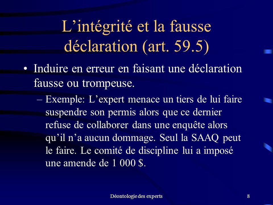 L'intégrité et la fausse déclaration (art. 59.5)