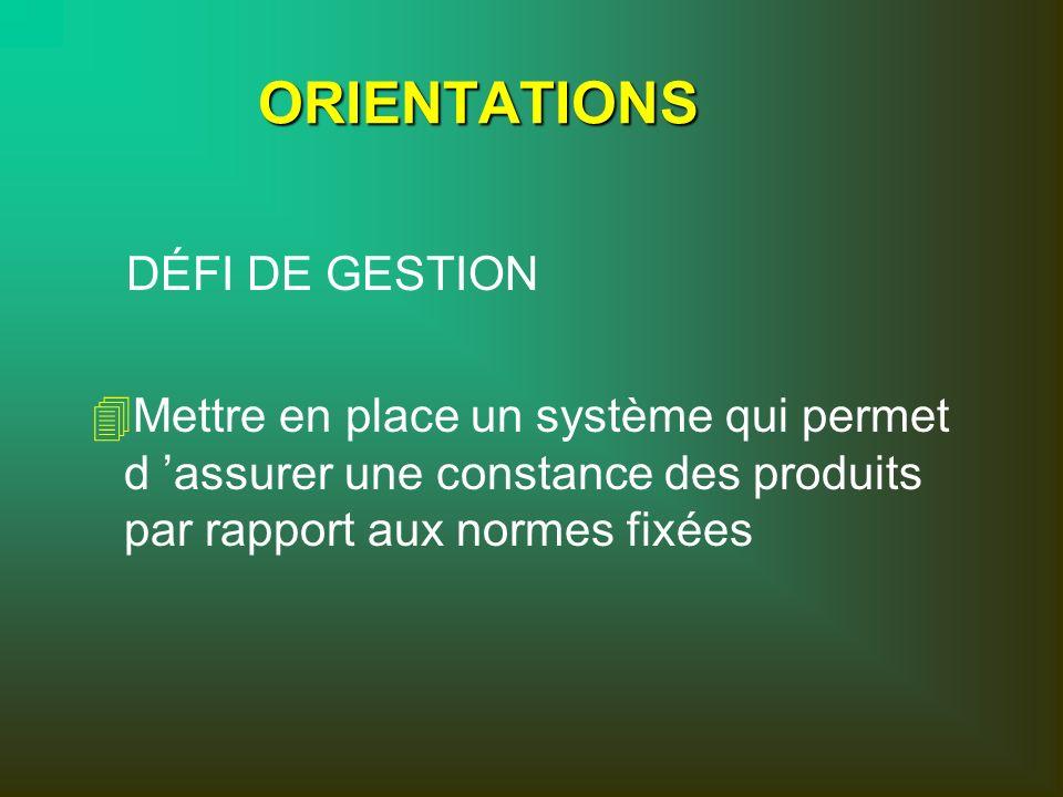 ORIENTATIONS DÉFI DE GESTION