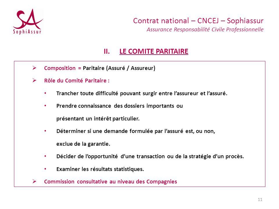 LE COMITE PARITAIRE Composition = Paritaire (Assuré / Assureur)