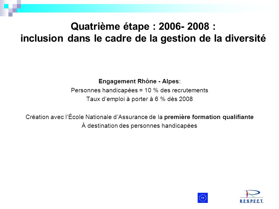 Quatrième étape : 2006- 2008 : inclusion dans le cadre de la gestion de la diversité