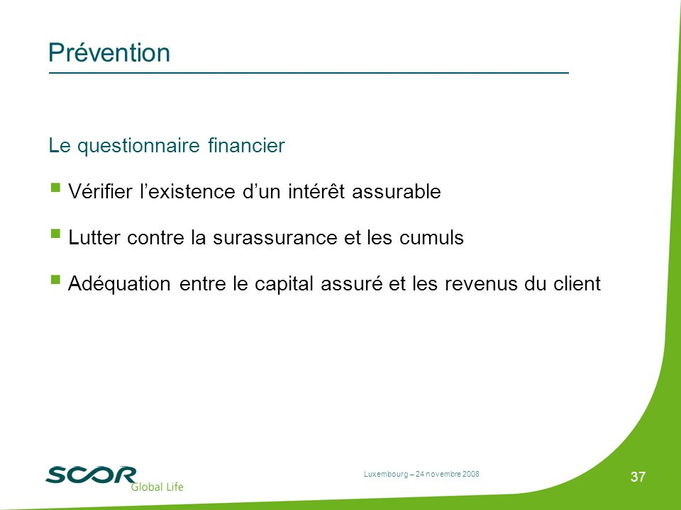 Prévention Le questionnaire financier