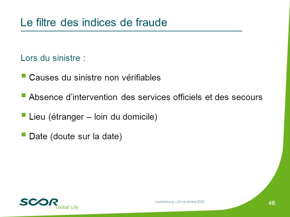 Le filtre des indices de fraude