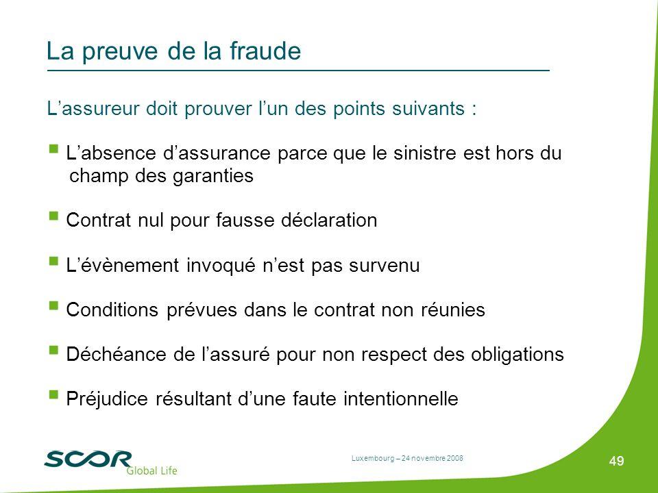 La preuve de la fraude L'assureur doit prouver l'un des points suivants :