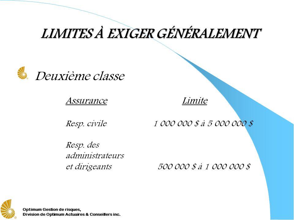 LIMITES À EXIGER GÉNÉRALEMENT