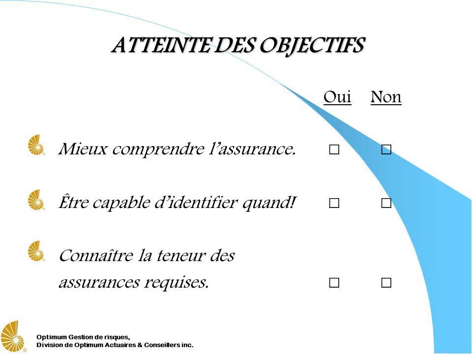 ATTEINTE DES OBJECTIFS