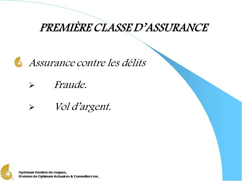 PREMIÈRE CLASSE D'ASSURANCE