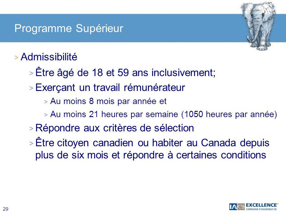 Programme Supérieur Admissibilité