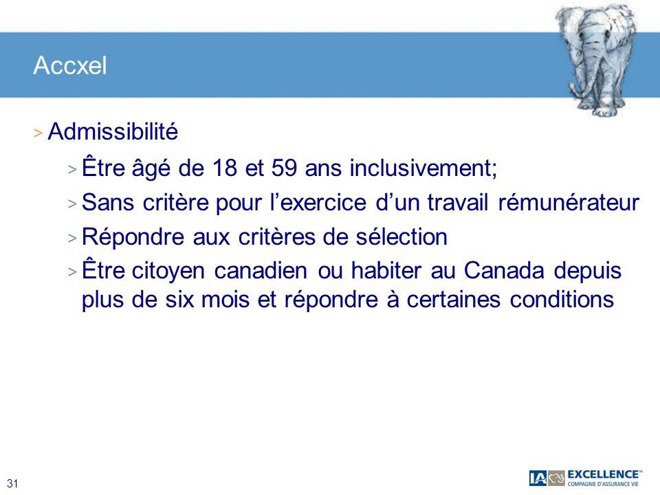 Accxel Admissibilité Être âgé de 18 et 59 ans inclusivement;