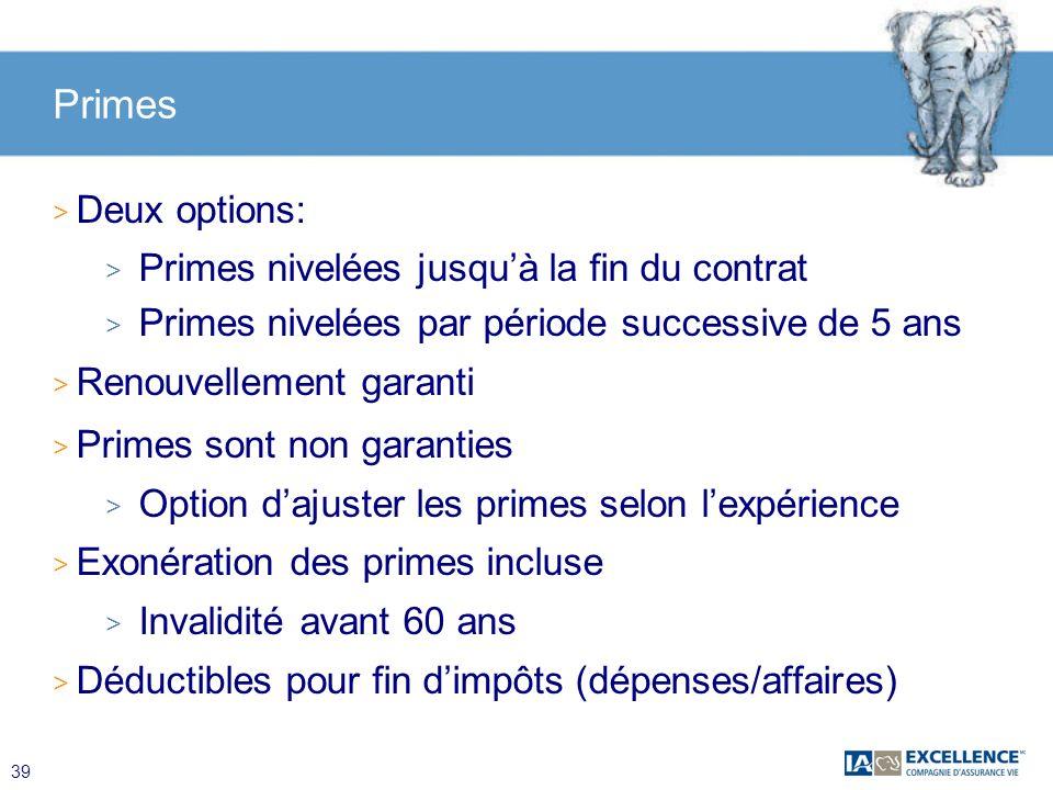Primes Deux options: Primes nivelées jusqu'à la fin du contrat