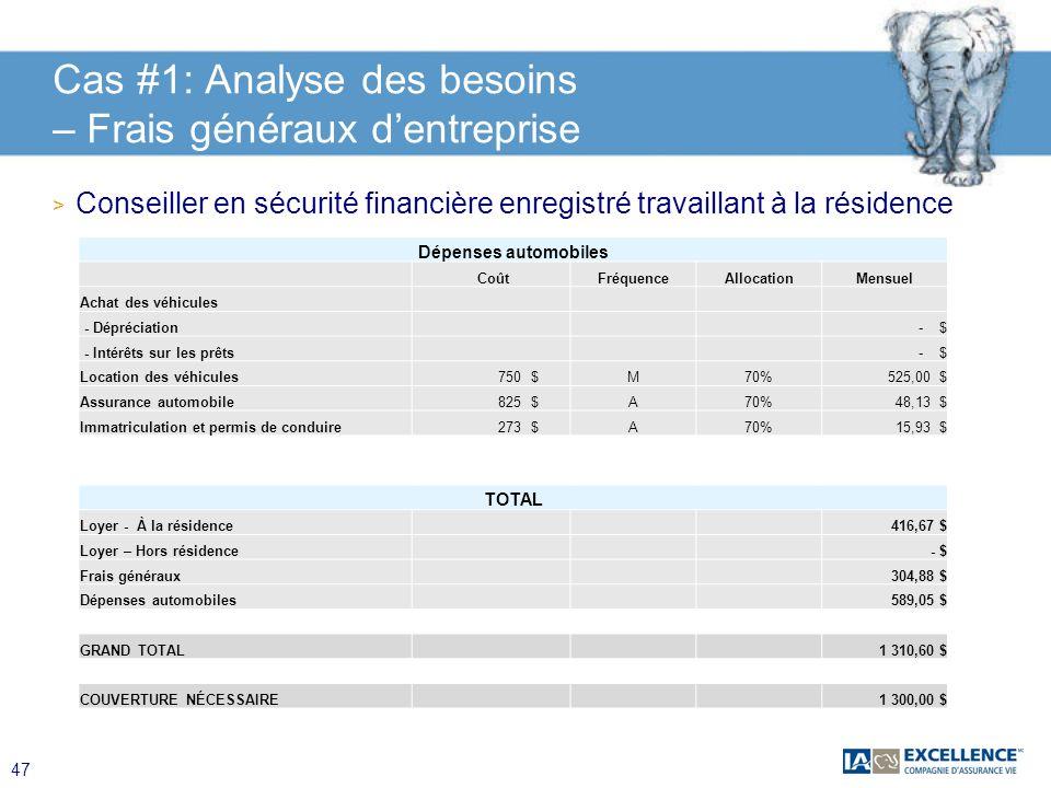 Cas #1: Analyse des besoins – Frais généraux d'entreprise