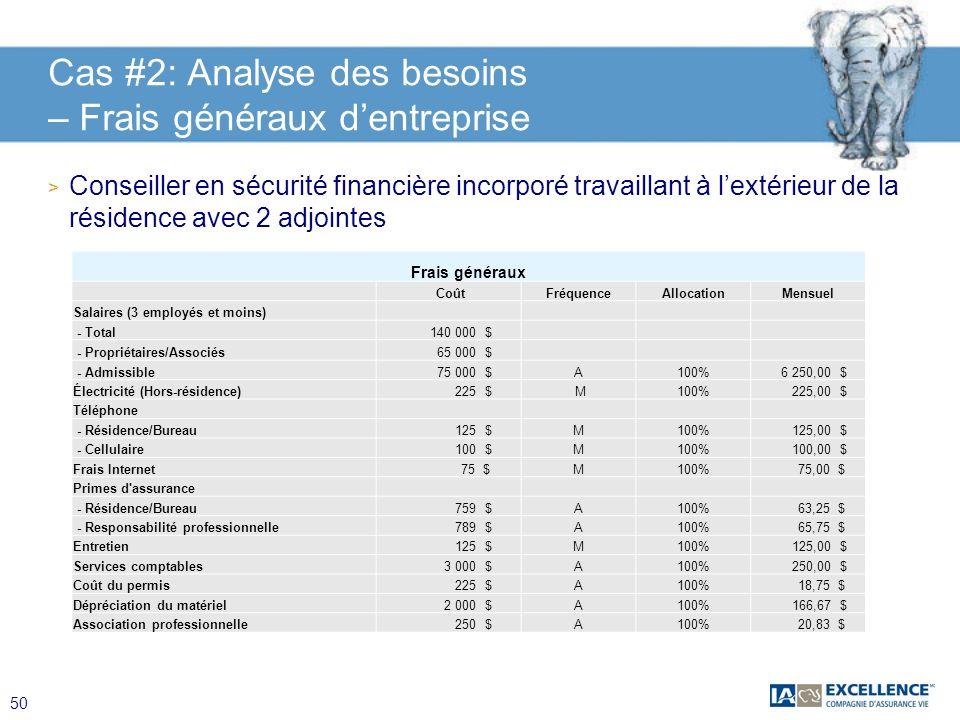Cas #2: Analyse des besoins – Frais généraux d'entreprise