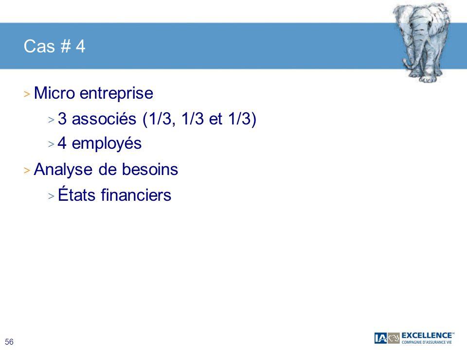 Cas # 4 Micro entreprise 3 associés (1/3, 1/3 et 1/3) 4 employés